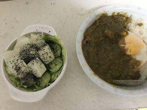 やっぱりカレーと枝豆豆腐サラダ